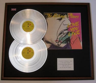 THE ROLLING STONES - Dble Platinum Disc & Cover Presentation - LOVE YOU LIVE