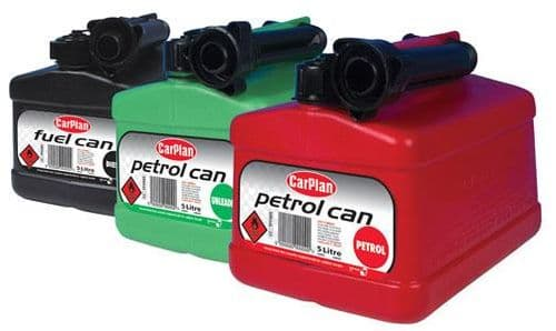 5 Litre Plastic Fuel Can, For Petrol, Diesel Fuel Or Paraffin. 3 Colours Available