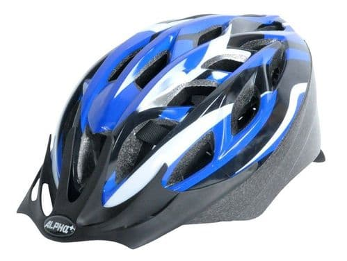 Alpha Plus Sonic Adult's Cycle Helmet, Blue, White & Black, 2 Sizes Available