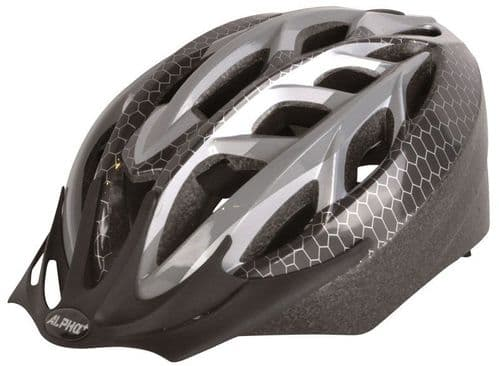 Alpha Plus Sonic Adult's Cycle Helmet, Grey & Black, 2 Sizes Available