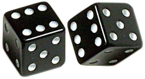 Dice Designer Valve Caps, Pair, 4 Colours Available