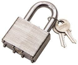 Draper Laminated Zinc Plated Steel Case & Brass Cylinder Padlock, 40mm Or 50mm Available