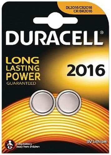 Duracell Long Lasting Power 2 x CR2016 Lithium Batteries