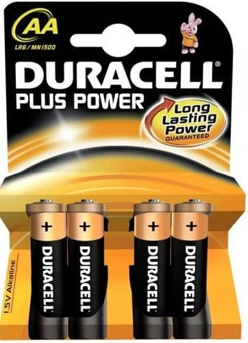 Duracell Plus Power AA Batteries Card Of 4 MN1500