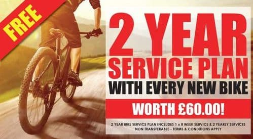 FREE 2 Year Service Plan With Every New Bike. Worth £60.00