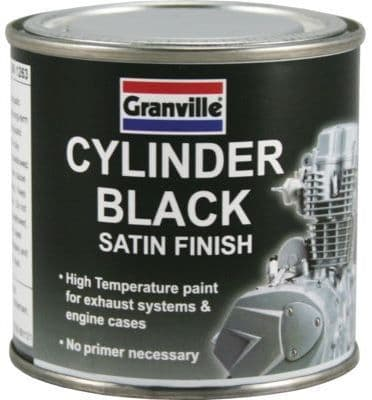 Granville Cylinder Black Satin Finish Heat Resistant Paint For Exhaust Systems. 250ml. 0060A