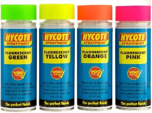 Hycote Fluorescent Colours Safety Paint 400ml. 4 Colours Available