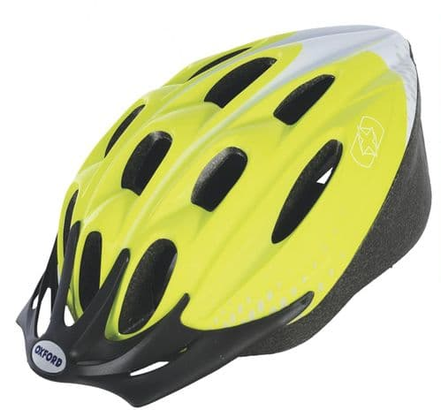 Oxford F15 Hurricane Adult's Cycle Helmet Fluro Yellow, 2 Sizes Available