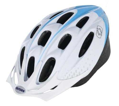 Oxford F15 Hurricane Adult's Cycle Helmet, White & Blue, 2 Sizes Available