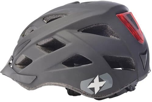 Oxford Metro V Cycle Helmet With Integrated LED Rear Light, Matt Black, 2 Sizes Available