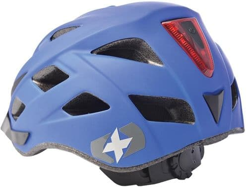 Oxford Metro V Cycle Helmet With Integrated LED Rear Light, Matt Blue, 2 Sizes Available