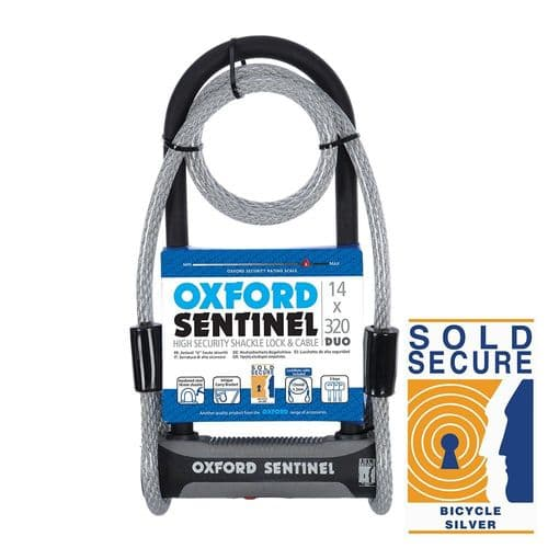 Oxford Sentinel Duo Shackle U Lock With Mounting Bracket. Sold Secure Silver, LK339