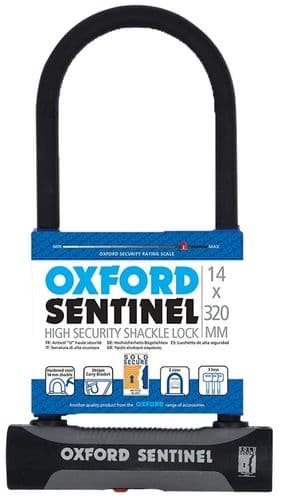 Oxford Sentinel Shackle U Lock With Mounting Bracket. Sold Secure Silver, LK338