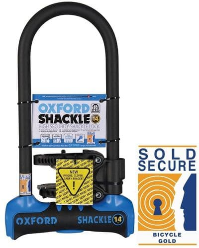 Oxford Shackle 14 U-Lock (320mm) Blue. Sold Secure Gold, LK341