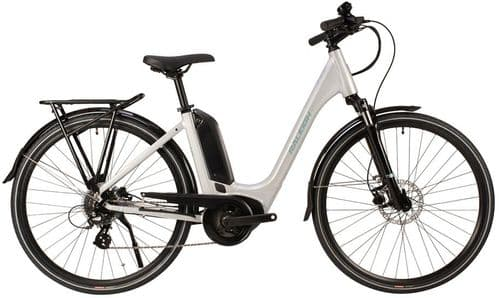 Raleigh Motus Bosch Powered Derailleur Low Step Electric Bike, Silver, 3 Sizes Available