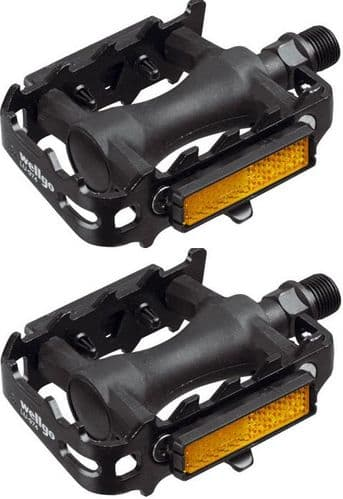 """Raleigh Wellgo MTB Alloy Cage Pedals With Reflectors, 9/16"""", REA313"""