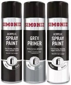 Simoniz Acrylic Spray Paint. Super Smooth Finish, Helps Prevent Rust 500ml. 7 Colours Available