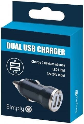 Simply Black Dual USB Car Charger. ICDC01