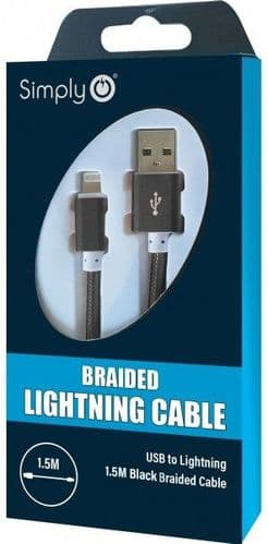 Simply Black iPhone Lighting Braided Cable 1.5m. ICIP04
