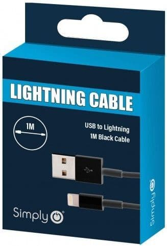 Simply Black iPhone Lighting Cable 1m. ICIP01