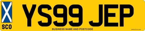 Standard Scotland Flag Car Replacement Number Plates Made At Whiteheads While You Wait
