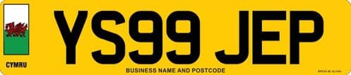 Standard Wales Flag Car Replacement Number Plates Made At Whiteheads While You Wait