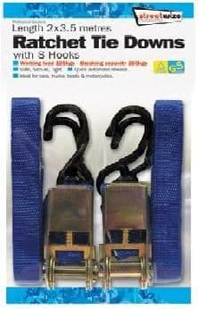 Streetwize 2 x 3.5 metre Length Heavy Duty Ratchet Tie Down with Hooks. SWTD6