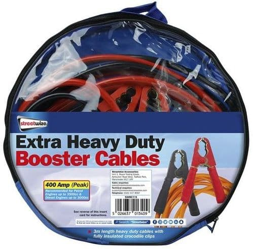 Streetwize Extra Heavy Duty 400 Amp Booster Cable. SWBC7/3