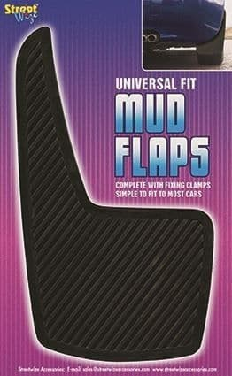 Streetwize Universal Mudflaps, Black Rubber Pair. SWMF