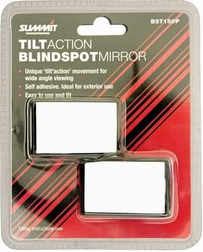 Summit Blind Spot Mirrors Pair, Tilt Action . Fits Onto Most Door Mirrors To Improve Your Vision. BST150P
