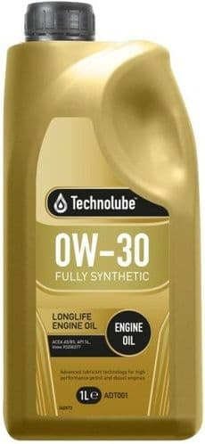 Technolube 0W30 Fully Synthetic Longlife Motor Oil. 1 Litre & 5 Litre Available