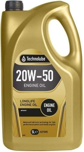 Technolube 20W50 Mineral Engine Oil 5 Litre. AOT005