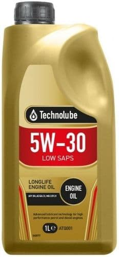 Technolube 5W30 Fully Synthetic Low SAPS Longlife Motor Oil. 1 Litre & 5 Litre Available