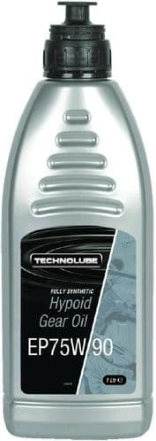 Technolube Fully Synthetic Hypoid Gear Oil EP75w90. 1 Litre. AFS010