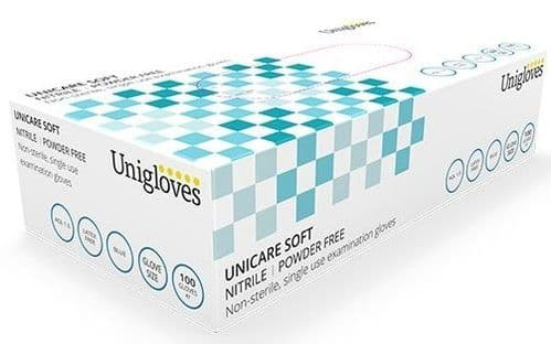 Unigloves Soft Nitrile Powder Free Disposable Gloves, Box Of 100. 2 Sizes Available